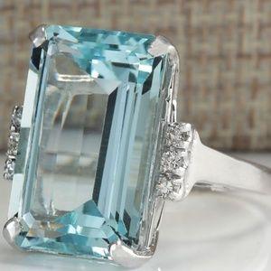 💖💍 *GORGEOUS* 16.42Ct Aquamarine & Silver Ring
